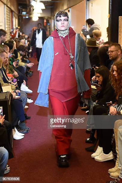 Model walks the runway at the Vetements Autumn Winter 2018 fashion show during Paris Menswear Fashion Week on January 19, 2018 in Paris, France.