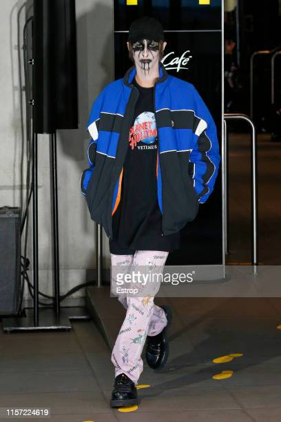 Model walks the runway at the Vetements show at McDonalds Champs Elysees during Paris Men's Fashion Week Spring/Summer 2020 on June 20, 2019 in...