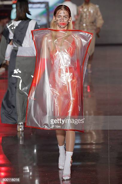 A model walks the runway at the VFILES fashion show during New York Fashion Week 2016 at Spring Studios on September 7 2016 in New York City