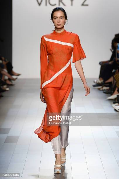 A model walks the runway at the Vicky Zhang fashion show during New York Fashion Week The Shows at Gallery 1 Skylight Clarkson Sq on September 13...