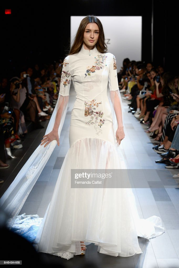 A model walks the runway at the Vicky Zhang fashion show during New York Fashion Week: The Shows at Gallery 1, Skylight Clarkson Sq on September 13, 2017 in New York City.
