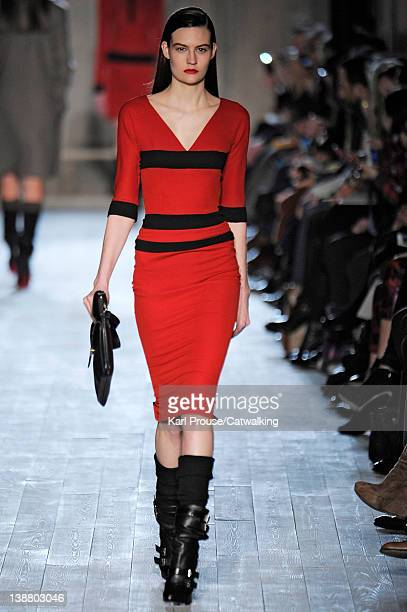 Model walks the runway at the Victoria Beckham Autumn Winter 2012 fashion show during New York Fashion Week on February 12, 2012 in New York, United...