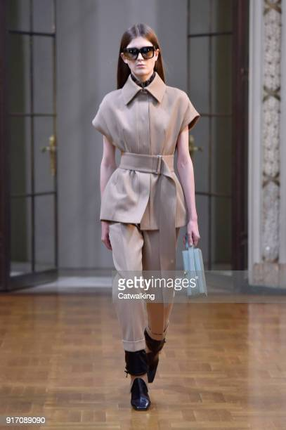 Model walks the runway at the Victoria Beckham Autumn Winter 2018 fashion show during New York Fashion Week on February 10, 2018 in New York, United...