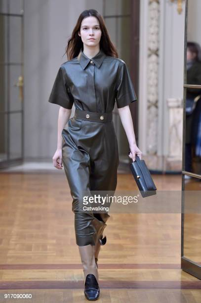 A model walks the runway at the Victoria Beckham Autumn Winter 2018 fashion show during New York Fashion Week on February 10 2018 in New York United...
