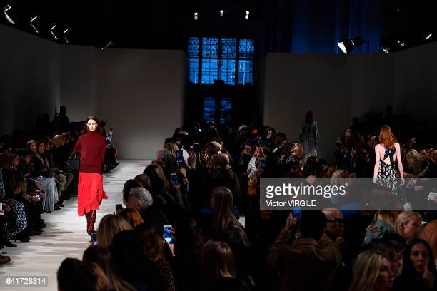A model walks the runway at the Victoria Beckham fashion show during New York Fashion Week Fall Winter 20172018 on February 12 2017 in New York...