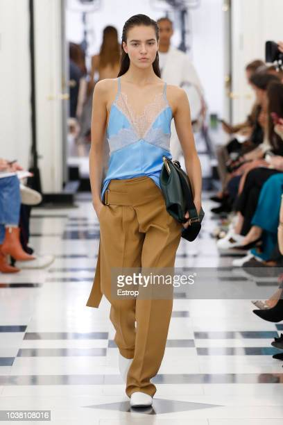A model walks the runway at the Victoria Beckham show during London Fashion Week September 2018 at XXXX on September 16 2018 in London England