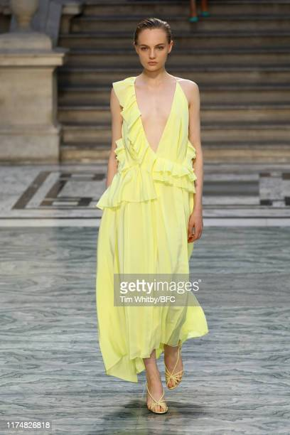 Model walks the runway at the Victoria Beckham show during London Fashion Week September 2019 at the British Foreign and Commonwealth Office on...