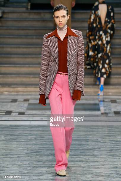 A model walks the runway at the Victoria Beckham show during London Fashion Week September 2019 at the British Foreign and Commonwealth Office on...