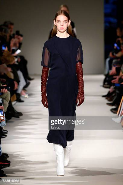 A model walks the runway at the Victoria Beckham show during the New York Fashion Week February 2017 collections on February 12 2017 in New York City