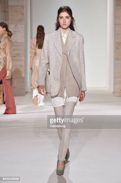 A model walks the runway at the Victoria Beckham Spring Summer 2018 fashion show during New York Fashion Week on September 10 2017 in New York United...