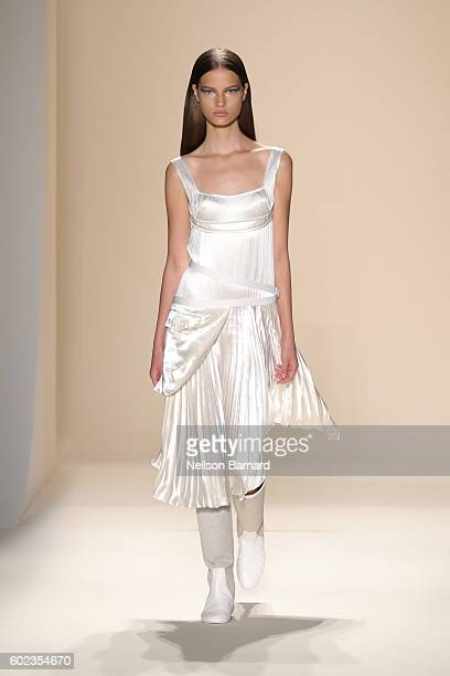 Model walks the runway at the Victoria Beckham Spring/Summer 2017 fashion show during New York Fashion Week on September 11, 2016 in New York City.