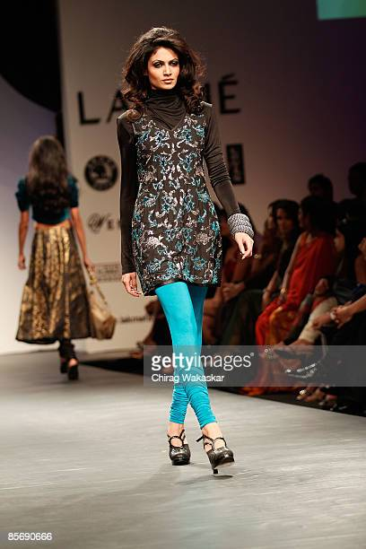 A model walks the runway at the Vikram Phadnis show at Lakme India Fashion Week Autumn/Winter 2009 at Grand Hyatt on March 29 2009 in Bombay India