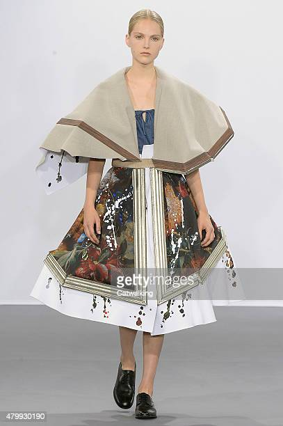 A model walks the runway at the Viktor Rolf Autumn Winter 2015 fashion show during Paris Haute Couture Fashion Week on July 8 2015 in Paris France