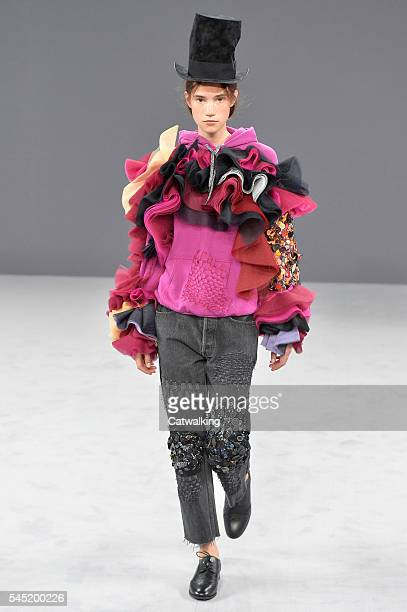 A model walks the runway at the Viktor Rolf Autumn Winter 2016 fashion show during Paris Haute Couture Fashion Week on July 6 2016 in Paris France