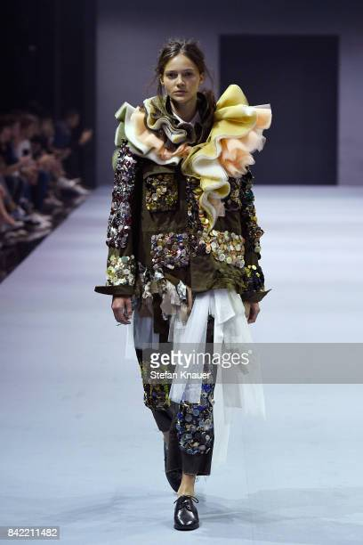 Model walks the runway at the Viktor & Rolf show during the Bread & Butter by Zalando at B&&B Stage, arena Berlin on September 3, 2017 in Berlin,...