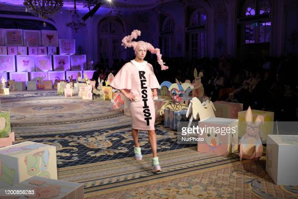 A model walks the runway at the VIN OMI show during London Fashion Week February 2020 at The Savoy Hotel on February 14 2020 in London England