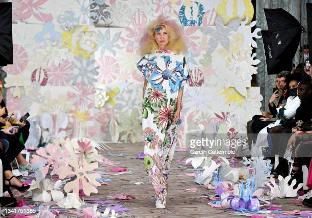 Model walks the runway at the VIN + OMI show during London Fashion Week September 2021 on September 21, 2021 in London, England.