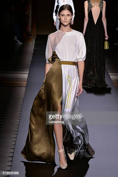 A model walks the runway at the Vionnet Autumn Winter 2016 fashion show during Paris Fashion Week on March 2 2016 in Paris France