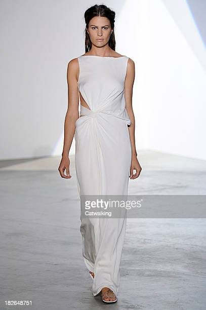 Model walks the runway at the Vionnet Spring Summer 2014 fashion show during Paris Fashion Week on October 2, 2013 in Paris, France.