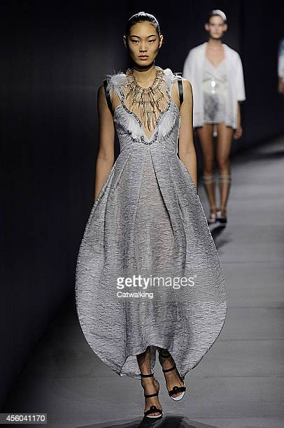 Model walks the runway at the Vionnet Spring Summer 2015 fashion show during Paris Fashion Week on September 24, 2014 in Paris, France.