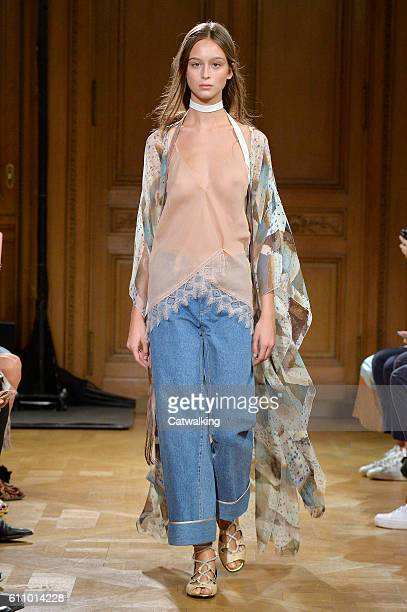 A model walks the runway at the Vionnet Spring Summer 2017 fashion show during Paris Fashion Week on September 28 2016 in Paris France