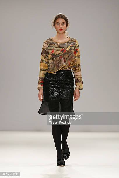 A model walks the runway at the Vita Gottlieb show at the Fashion Scout venue during London Fashion Week AW14 at Freemasons Hall on February 16 2014...