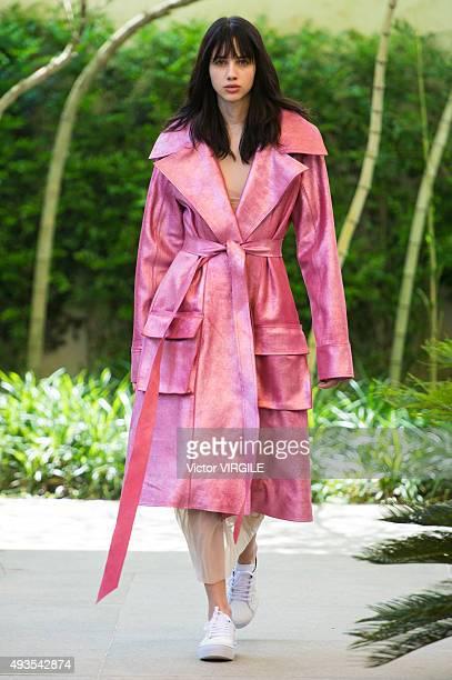 Model walks the runway at the Vitorino Campos show at Sao Paulo Fashion Week Fall/Winter 2016 on October 20, 2015 in Sao Paulo, Brazil.