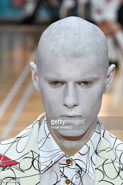 A model walks the runway at the Vivenne Westwood fashion show during the London Fashion Week Men's June 2017 Spring Summer 2018 collections on June...