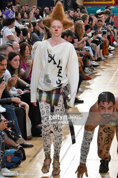 Model walks the runway at the Vivenne Westwood fashion show during the London Fashion Week Men's June 2017 Spring Summer 2018 collections on June 12,...