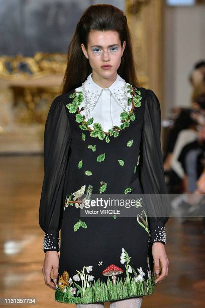 Model walks the runway at the Vivetta Ready to Wear Fall/Winter 2019-2020 fashion show at Milan Fashion Week Autumn/Winter 2019/20 on February 20,...