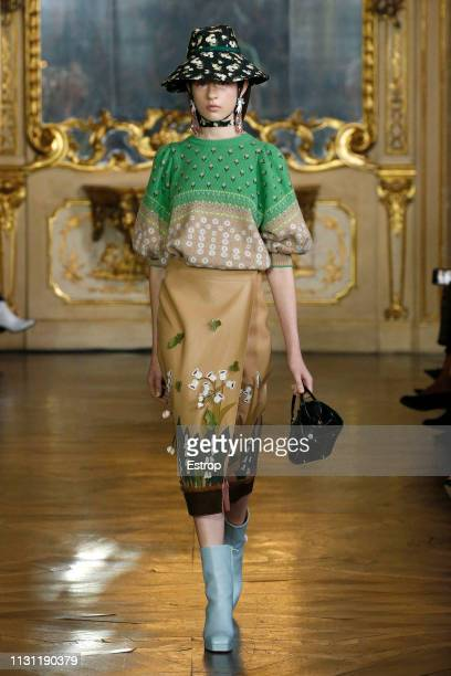 Model walks the runway at the Vivetta show at Milan Fashion Week Autumn/Winter 2019/20 on February 20, 2019 in Milan, Italy.