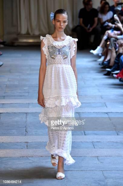 Model walks the runway at the Vivetta show during Milan Fashion Week Spring/Summer 2019 on September 20, 2018 in Milan, Italy.