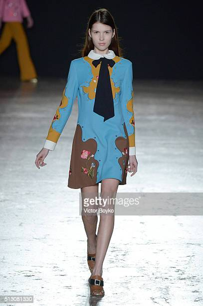 Model walks the runway at the Vivetta show during Milan Fashion Week Fall/Winter 2016/17 on February 29, 2016 in Milan, Italy.