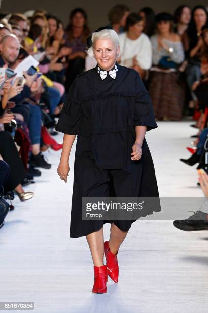 Model walks the runway at the Vivetta show during Milan Fashion Week Spring/Summer 2018 on September 21, 2017 in Milan, Italy.