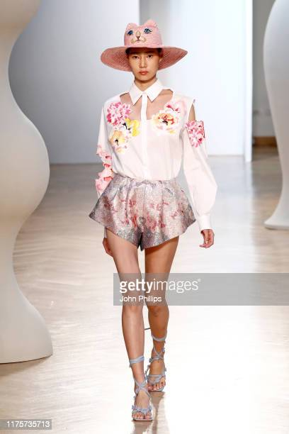 Model walks the runway at the Vivetta show during the Milan Fashion Week Spring/Summer 2020 on September 19, 2019 in Milan, Italy.