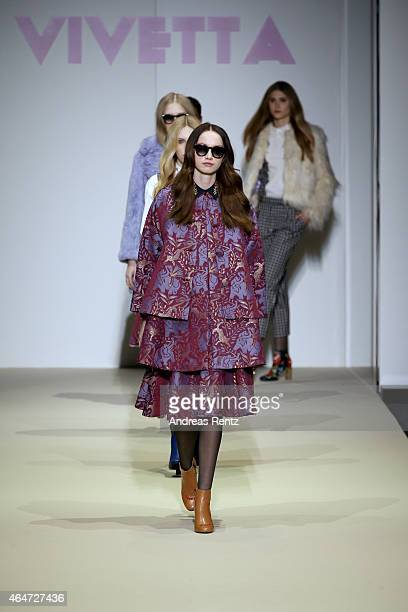 Model walks the runway at the Vivetta show during the Milan Fashion Week Autumn/Winter 2015 on February 28, 2015 in Milan, Italy.