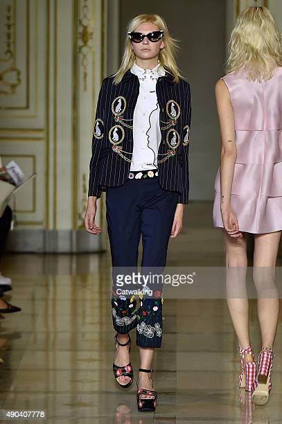 Model walks the runway at the Vivetta Spring Summer 2016 fashion show during Milan Fashion Week on September 28, 2015 in Milan, Italy.