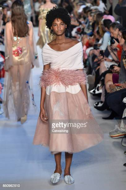 Model walks the runway at the Vivetta Spring Summer 2018 fashion show during Milan Fashion Week on September 21, 2017 in Milan, Italy.