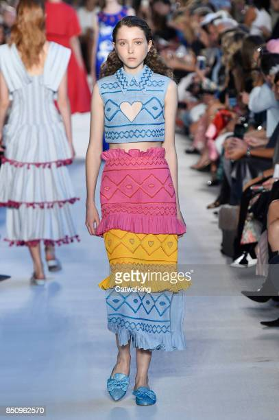 Model walks the runway at the Vivetta Spring Summer 2018 fashion show during Milan Fashion Week on September 21, 2017 in Milan, Italy.