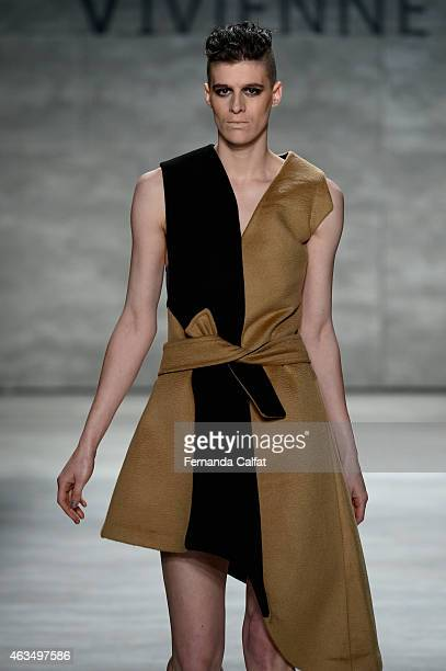 A model walks the runway at the Vivienne Hufashion show during MercedesBenz Fashion Week Fall 2015 at The Pavilion at Lincoln Center on February 15...