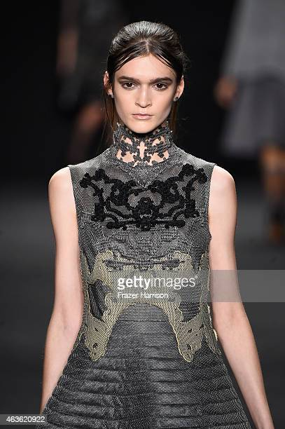 A model walks the runway at the Vivienne Tam fashion show during MercedesBenz Fashion Week Fall 2015 at The Theatre at Lincoln Center on February 16...