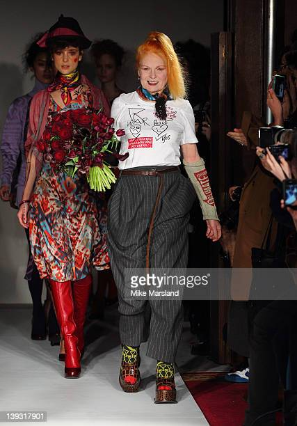 A model walks the runway at the Vivienne Westwood Autumn/Winter 2012 show at London Fashion Week at Goldsmiths' Hall on February 19 2012 in London...