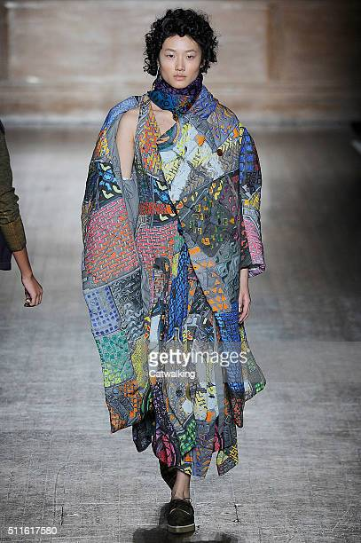 A model walks the runway at the Vivienne Westwood Red Label Autumn Winter 2016 fashion show during London Fashion Week on February 21 2016 in London...