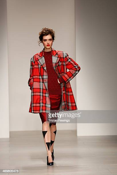 A model walks the runway at the Vivienne Westwood Red Label show at Sommerset House at London Fashion Week AW14 at on February 16 2014 in London...
