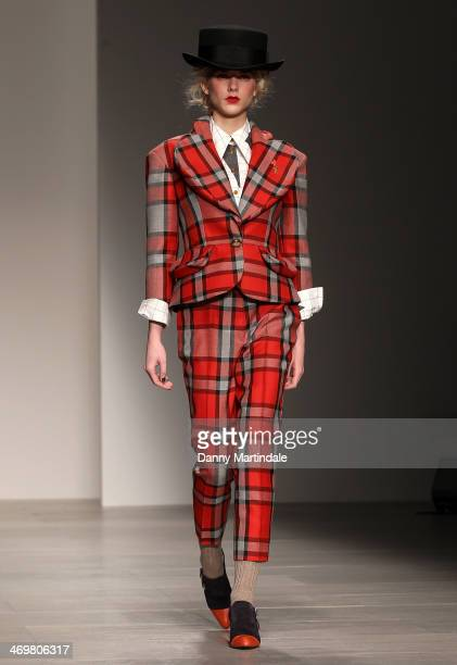 A model walks the runway at the Vivienne Westwood Red Label show at London Fashion Week AW14 at on February 16 2014 in London England
