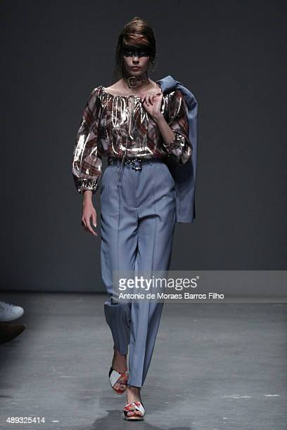 A model walks the runway at the Vivienne Westwood Red Label show during London Fashion Week Spring/Summer 2016/17 on September 20 2015 in London...
