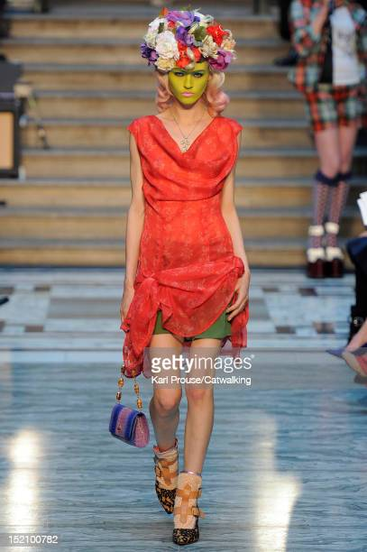 Model walks the runway at the Vivienne Westwood Red Label Spring Summer 2013 fashion show during London Fashion Week on September 16, 2012 in London,...