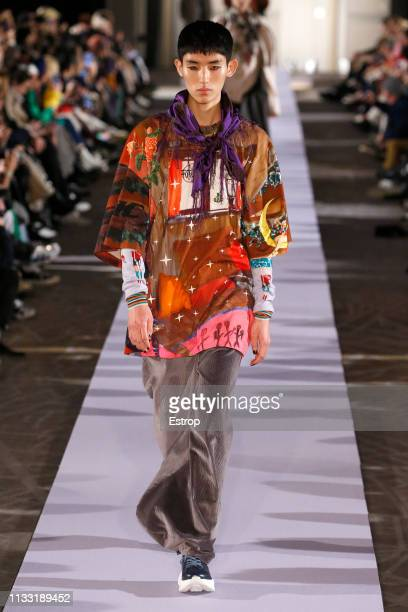 A model walks the runway at the Vivienne Westwood show at Paris Fashion Week Autumn/Winter 2019/20 on March 2 2019 in Paris France