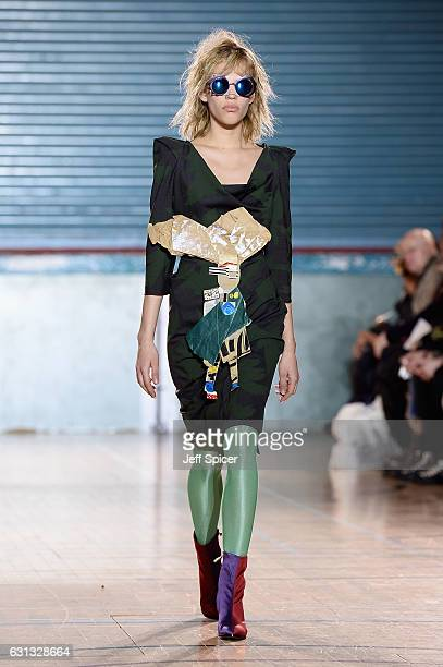 A model walks the runway at the Vivienne Westwood show during London Fashion Week Men's January 2017 collections at Seymour Leisure Centre on January...