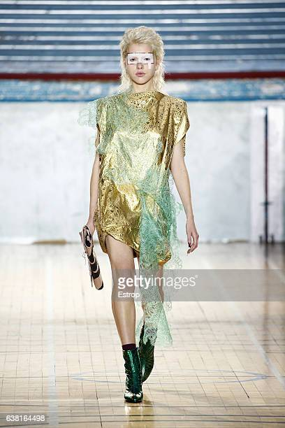 A model walks the runway at the Vivienne Westwood show during London Fashion Week Men's January 2017 collections at BFC Show Space on January 9 2017...